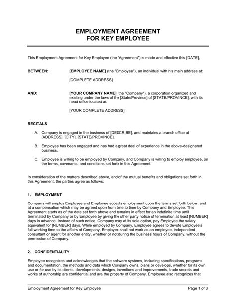 Employee Agreement Letter - Collection - Letter Templates