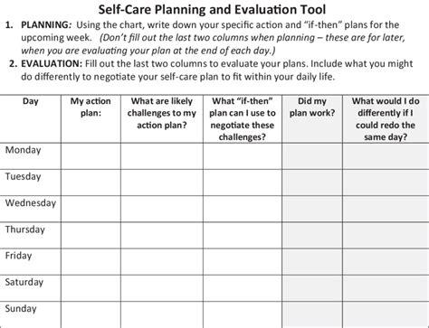 self care plan worksheet resultinfos