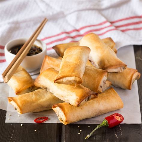 Vegan baked spring rolls with a dipping sauce   Lazy Cat