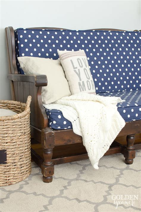 blue polka dot upholstered sofa  golden sycamore