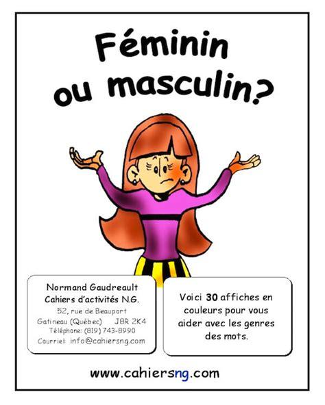 f 233 minin ou masculin gratuit cahiers d activit 233 s n g