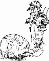 Clipart Farmer Coloring Transparent Webstockreview Pumpkinhead sketch template