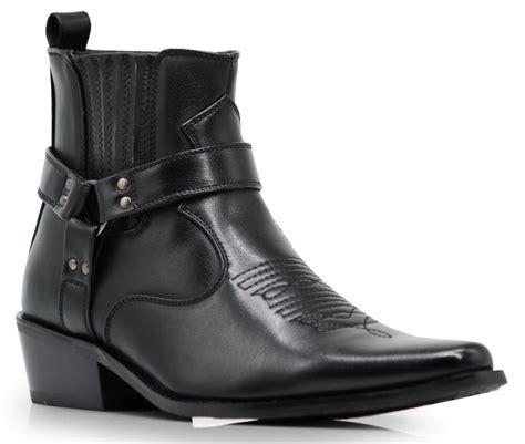 Men New Black Brown Ankle Cowboy Western Boots Shoes