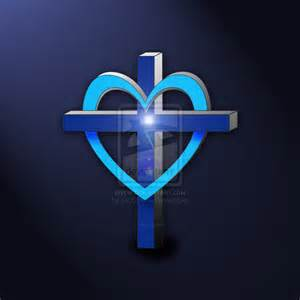 Blue Cross with Heart