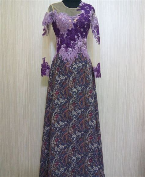 jual long dress pesta batik kebaya tile brokat kombinasi