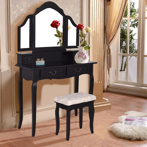 tri folding mirror vanity makeup table set bedroom wstool