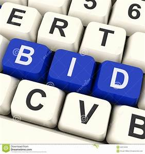 Bid Keys Show Online Bidding Or Auction Stock Illustration ...