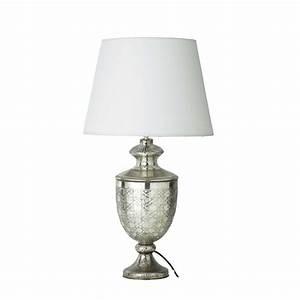 Lampe Mit Glasfuß : lampe renaissance aus glas mit lampenschirm aus baumwolle h 67 cm wei maisons du monde ~ Indierocktalk.com Haus und Dekorationen