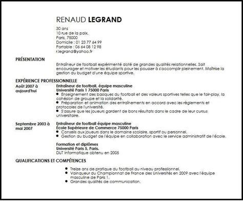 Cv Exle Francais by Exemple De Cv Entra 238 Neur De Football Exemples Mod 232 Les