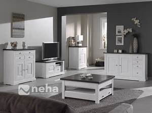 Meuble Salon Blanc : meuble salon bois massif blanc meuble tv complet bois ~ Dode.kayakingforconservation.com Idées de Décoration