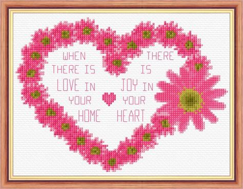 flower home wording 14 count cross stitch kit