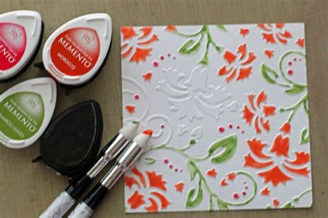kaleidacolor tomato vine fresh fun coloring embossed cs  inks  finished card