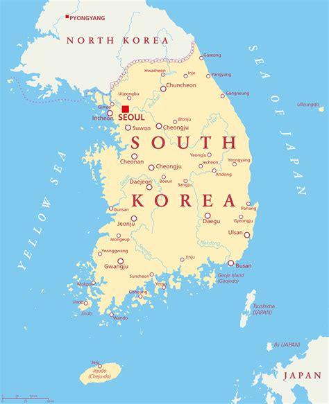 south korea map guide   world