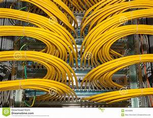 Network Patch Panel In A Data Center Stock Photo