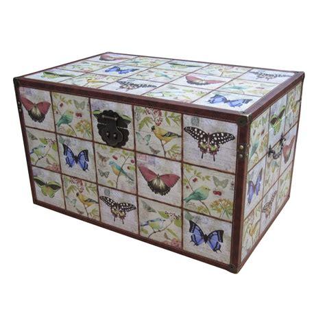 storage chest trunk wooden storage trunk butterfly bird design 2549