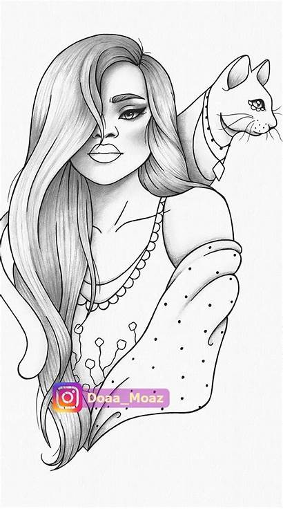 Coloring Portrait Drawings Line Relaxing Outline Adult