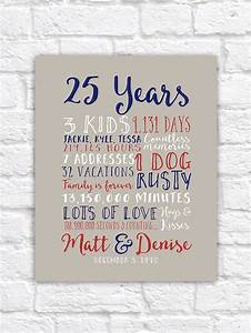 25th wedding anniversary gift paper canvas twenty fifth With 25th wedding anniversary gifts for parents