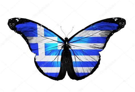 griechenland flagge schmetterling isoliert auf weissem