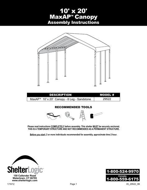 shelterlogic     max ap canopy user manual  pages       max ap