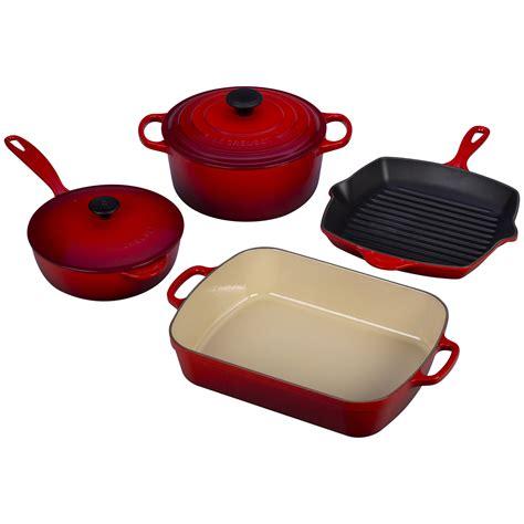cookware cast creuset le iron piece signature sets kitchen pan amazon cherry stainless enameled marseille griddle bedbathandbeyond cresuet pots steel