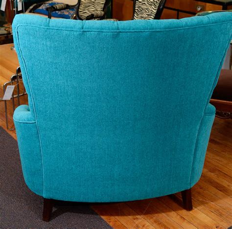 tufted leather chair turquoise vintage turquoise blue tufted quot chair and a half quot at 1stdibs