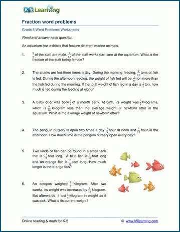 add subtract fractions word problems worksheets k5