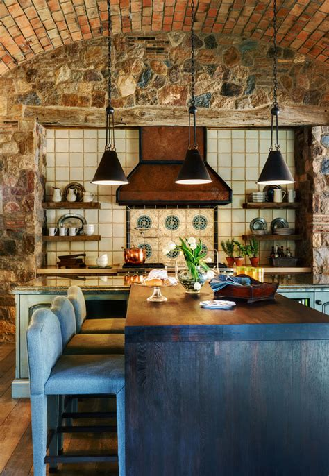 impressive kitchens  brick walls  ceilings interior god