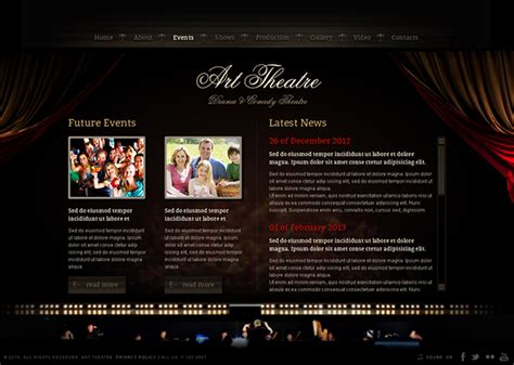 Theatre Responsive Website Template by Download Joomla Theatre Template Free Fileclouddoc