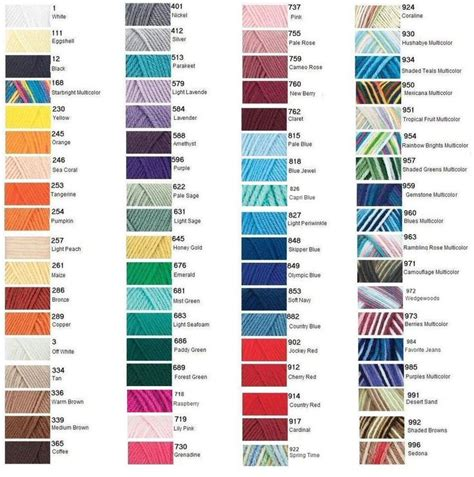 redheart yarn colors with yarn color chart yarn