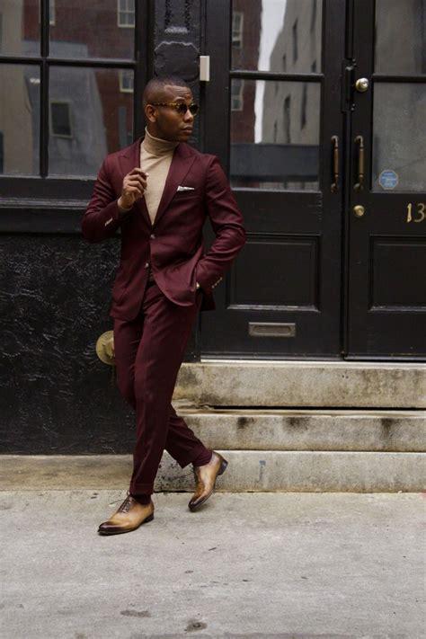 Burgundy suit + tan turtleneck + pocket square + brown dress shoes   Classic Menu0026#39;s Style ...