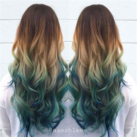 Brunette Blonde Blue Green Ombré Long Wavy Hair Hair In