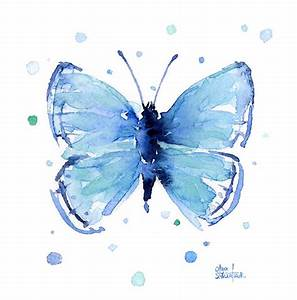 Blue Watercolor Butterfly Painting by Olga Shvartsur