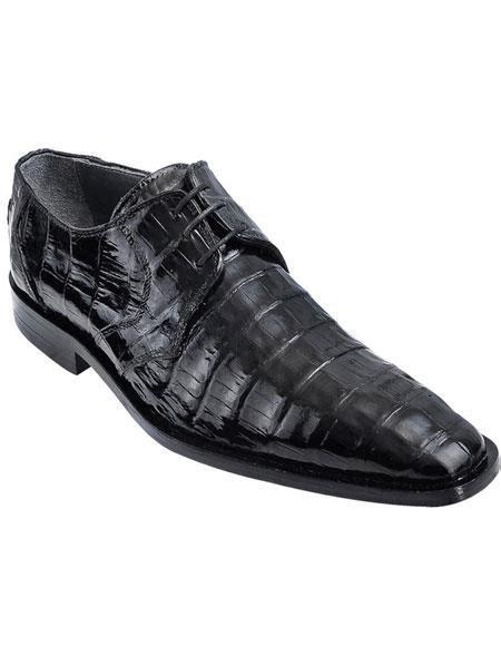 Black Genuine Caiman Belly Oxfords Style Los Altos Shoes