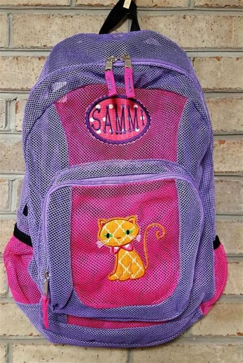 monogrammed backpack mesh backpack    stitchingwithellie