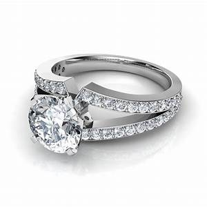 split shank round brilliant cut engagement ring With split shank wedding rings
