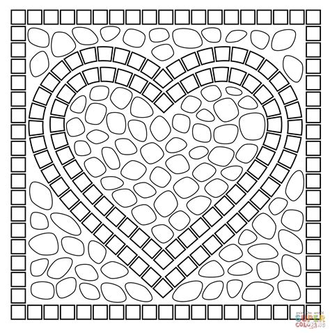 Mosaic Heart Coloring Pages Printable