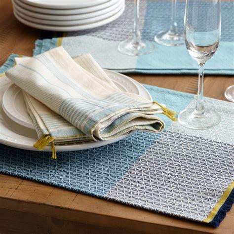 world market table linens blue color block woven table linen collection world market