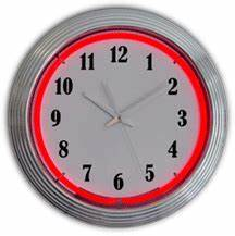 Standard Chrome Red Neon Clock NC 20 94