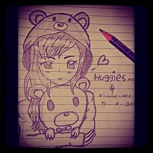 Anime girl holding a teddy bear by CutienanaART on DeviantArt