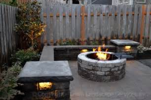 patio seat wall design paver patio seat wall fire pit outdoor lighting landscaping modern patio portland by