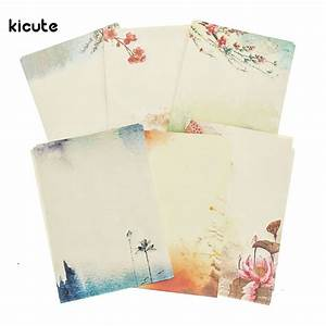 8 sheets set chinese style flower ancient retro vintage With vintage stationery letter writing kit