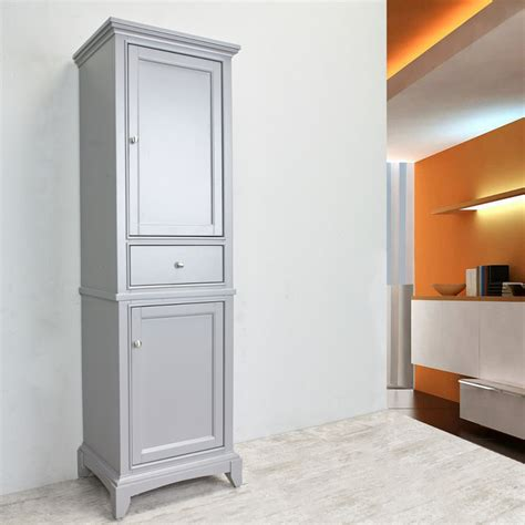 Solid Wood Bathroom Cabinet by Eviva Elite Stamford 24 Quot Grey Solid Wood Side Linen