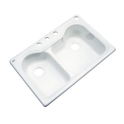 thermocast breckenridge drop in acrylic 33 in 4 bowl kitchen sink in white 46400