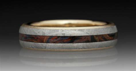 meteorite   yellow gold ring  pietersite inlay