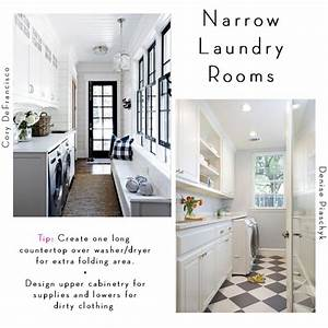 6 tips for designing a laundry room becki owens for Narrow laundry room layout