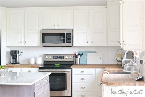 painted white oak cabinets kitchen makeover reveal beneath my