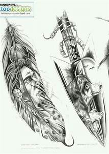 Indian feather wolf tattoo. Only just the wolf howling in ...