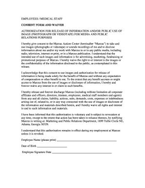 fillable  choa marcus employee media consent form