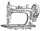 Sewing Machine Drawing Tattoo Antique Clip Coloring Machines Printablecolouringpages sketch template