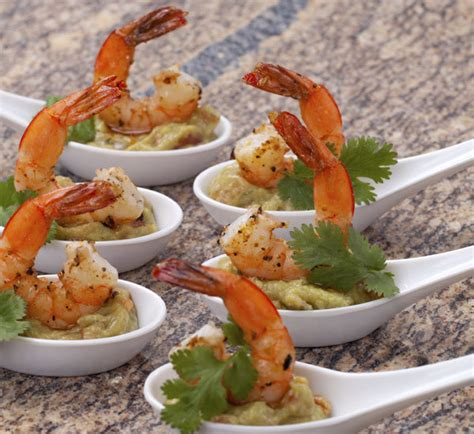 canapes with prawns prawn and wasabi guacamole canapés recipe centre